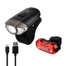 Комплект фонарей Briviga USB bike light set EBL-039+EBL-2265A, перед 380 лм + задний 40 лм.
