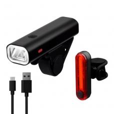 Комплект фонарей Briviga USB bike light set EBL-3304+EBL-3303, перед 400 лм + задний 30 лм.